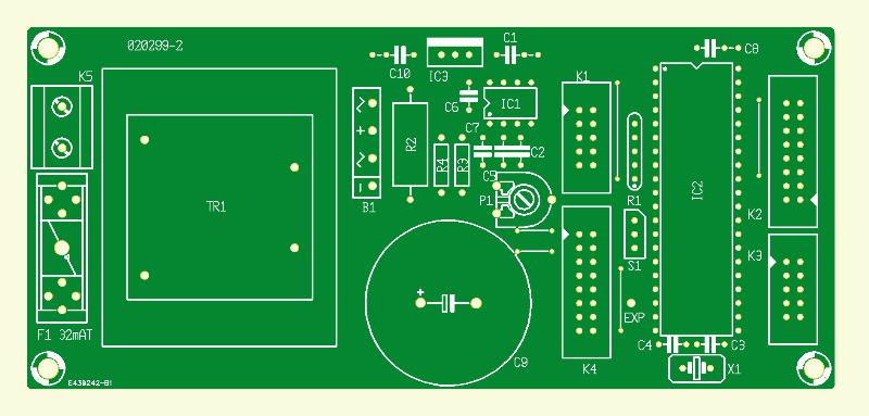 HF-Mess-Sender. Steuer/Netzteilplatine
