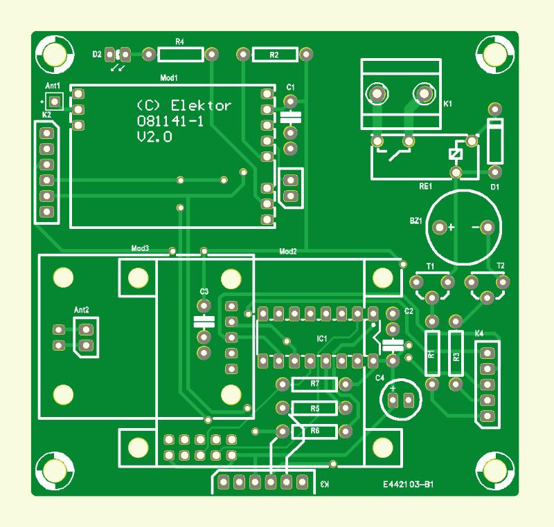 RFID-Zugangssystem mit OLED-Display (VisiOLED) (Platine )
