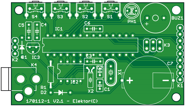 3-Way Display Alarm with 2.2-inch TFT screen - bare PCB (170112-1)
