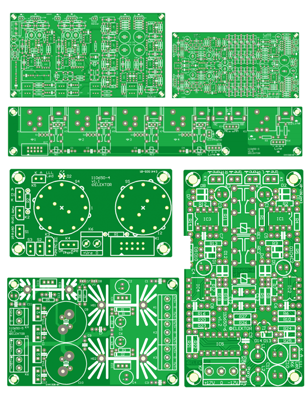 110650 set of the 6 PCBs Preamplifier 2012 (input board is 2x in the set)