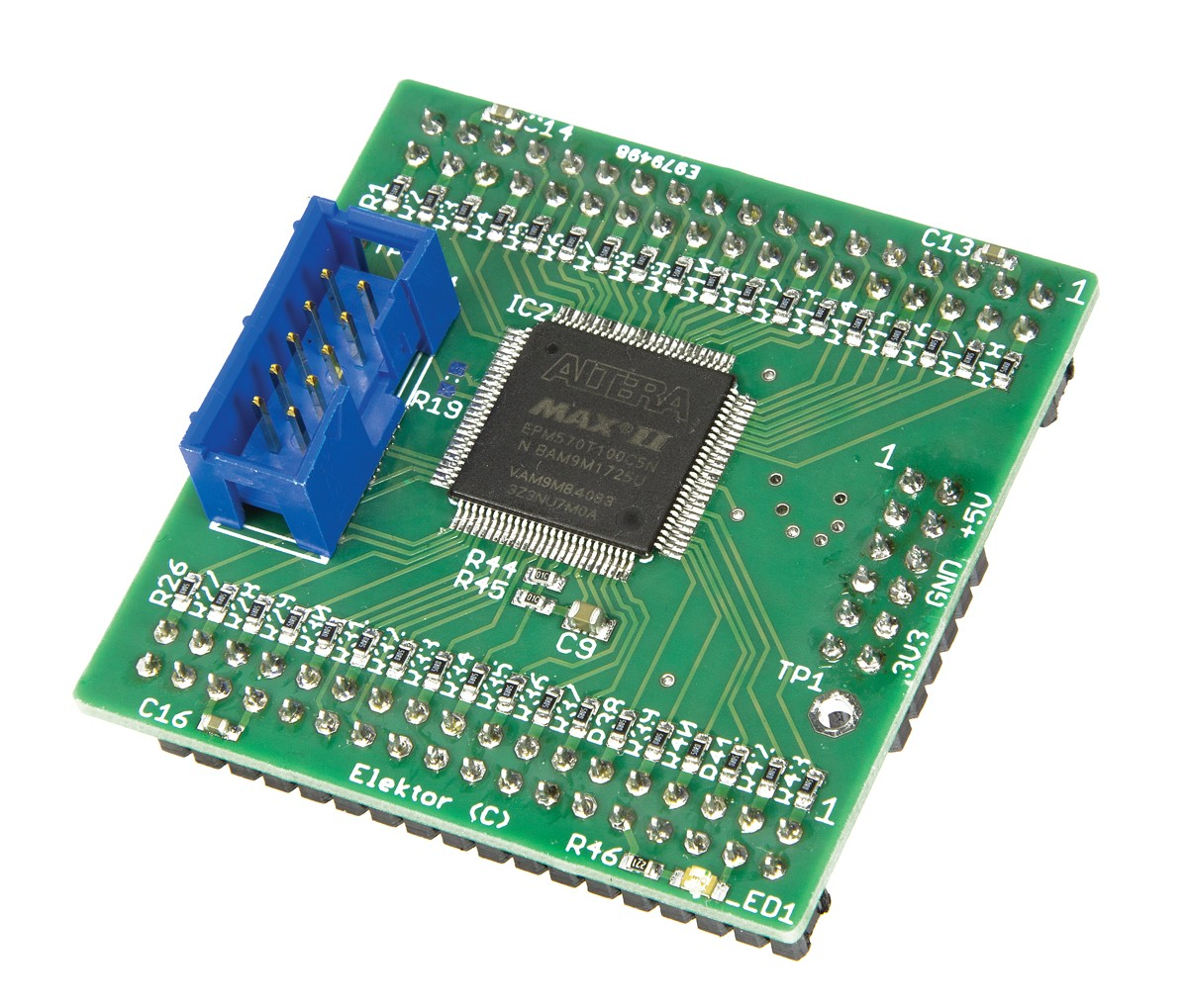 CPLD Breakout Board in DIL Format - PCB SMD mounted, K1-K4 supplied (160425-91)