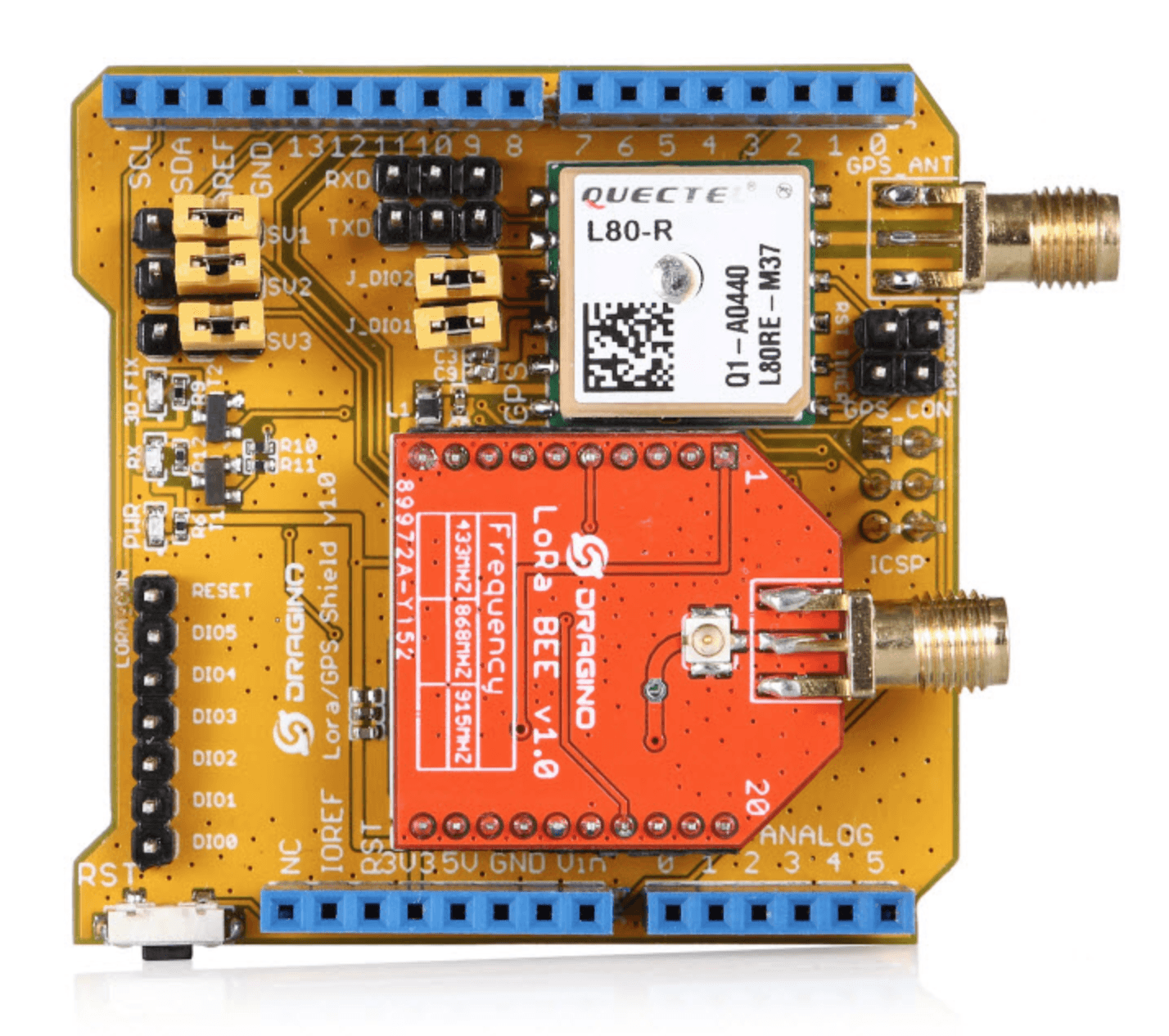 Dragino LoRa/GPS Shield for Arduino (868 MHz)