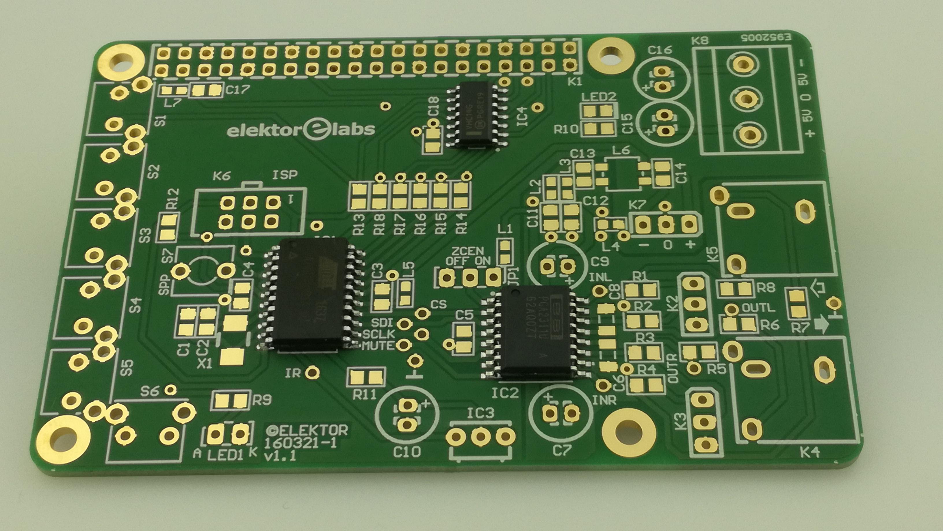 Volumeneinstellung für RPI Audio-DAC - Teilbestückte Leiterplatte (160321-1)