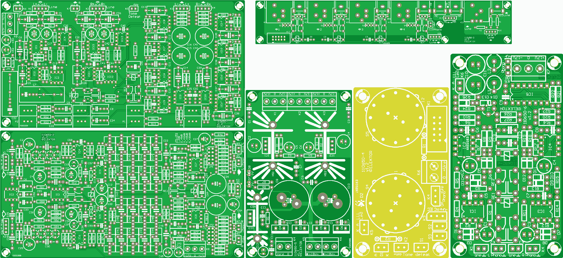 Set of the 6 PCB's Preamplifier 2012 (110650)